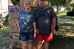 Collecting donations at Greenfield common
