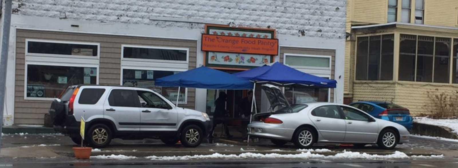Orange Food Pantry drive thru food pickup