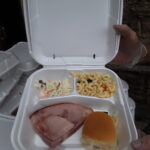 brad's place meal - pasta, ham sandwich, coleslaw